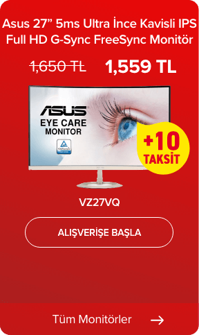 Asus VZ27VQ 27 inç 5ms Ultra İnce Kavisli IPS Full HD G-Sync FreeSync Monitör